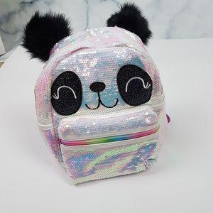 Handbags - NWT! Holographic Sequins Panda Mini Backpack